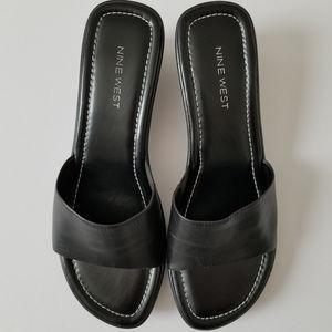 Nine West Leather Black Wedge Sandals - 8.5 - NWT